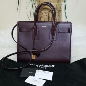 YSL BO Mini Sac Jour Bag, Amarena, Deep Purple